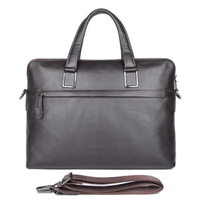 TuccisLeather 7412Q Real Cow Leather Coffee Laptop Bag Men's Handbag