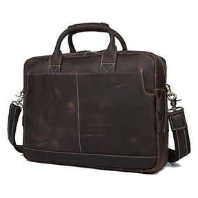 TuccisLeather 7417R Retro High Quality Brown Handbag Mens Briefcase Handmade Bag