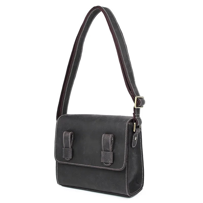 TuccisLeather C005J Great Dark Grey Crazy Horse Leather Sling Bag for Men