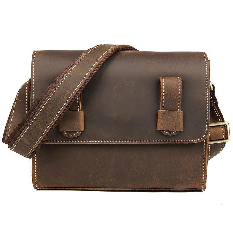 TuccisLeather C005R Good Quality Crazy Horse Leather Sling Messenger Bag