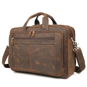TuccisLerather 7320R Good Quality Crazy Horse Leather Briefcase Laptop Bag for Men