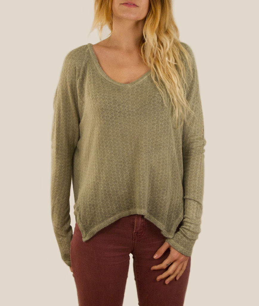 Loose Knit V-Neck
