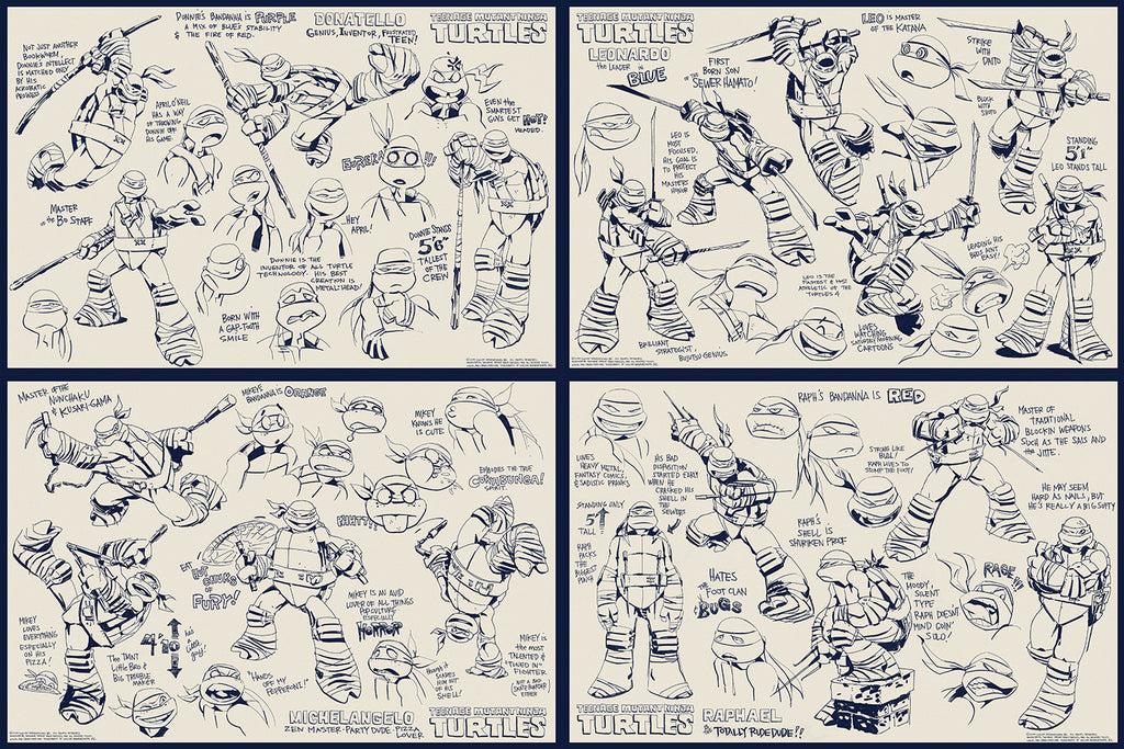 Teenage Mutant Ninja Turtles Character Concepts (Set of 4)