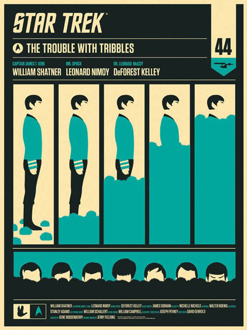 The Trouble With Tribbles  Spock Olly Moss poster