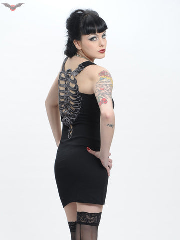 Queen of Darkness Black Vest-Dress with Ribcage  - 1