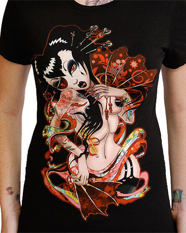 Geisha Fan Girls T Shirt  - 1