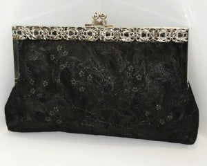 Hand Crafted Gothic Black Silk Clutch Handbag  - 1