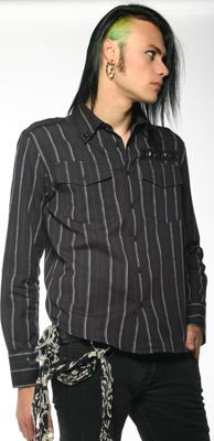 Lip Service Limited Editions Varigated Stripe Military Shirt  - 1