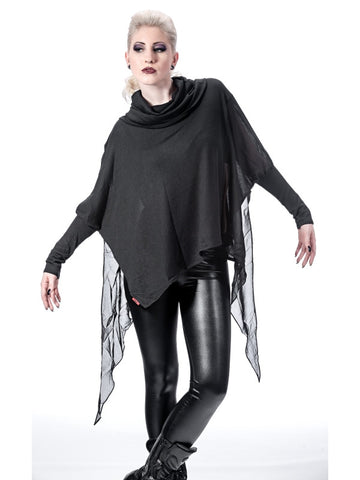 Queen of Darkness Poncho with collar, sleeves  - 1