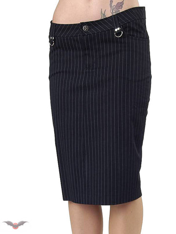 Queen of Darkness Pinstripe Knee Length Skirt