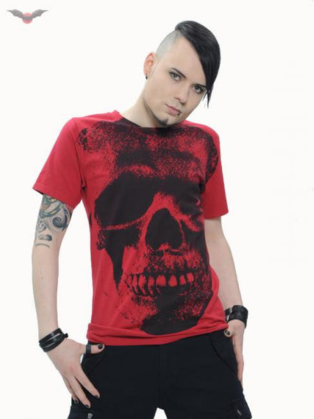 Queen of Darkness Red tshirt with huge skull