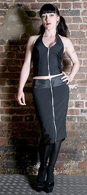 Pinstripe Tail Pencil Skirt  - 1