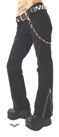 Queen of Darkness Pinstripe Trousers Zippers  - 1