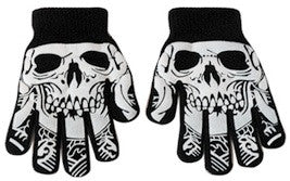 Skull face gloves.