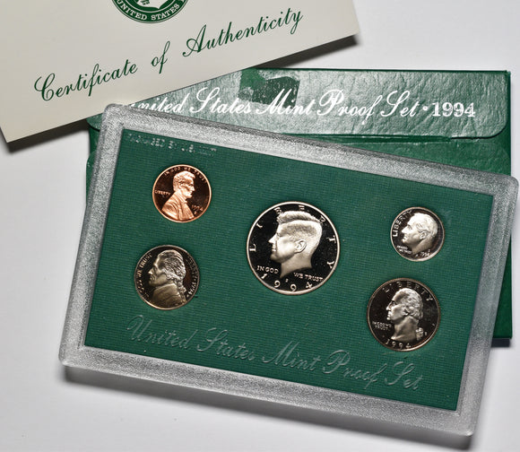 1994 US Mint 5 Coin Proof Set in original packaging
