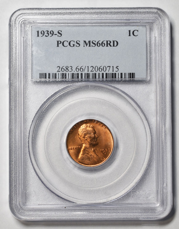 1939S Lincoln Cent MS66RD PCGS Red Coin