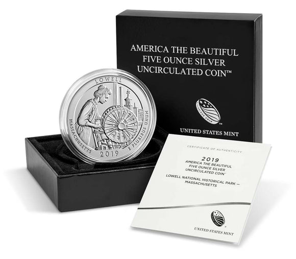 2019 Uncirculated Five Ounce .999 Silver Coin Lowell National Historical Park