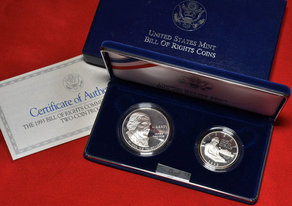 1993 2 Coin Bill Of Rights Proof Set Silver Dollar & Clad Half Coin