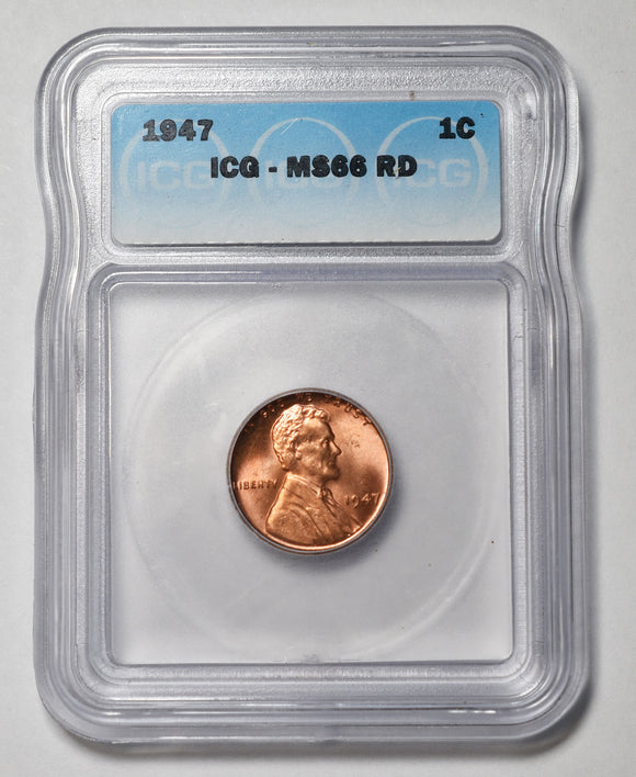 1947 Lincoln Cent MS66RD ICG Red Coin