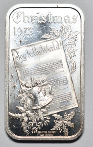 1973 Christmas 1 Ounce .999 Fine Silver Art Ingot Bar