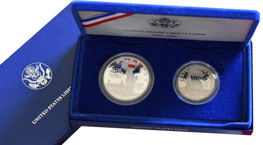 1986 S LIBERTY Ellis Island 2 Coin Proof Set Silver $1 & Half Dollar Box NO COA