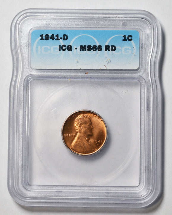 1941D Lincoln Cent MS66RD PCGS Red Coin