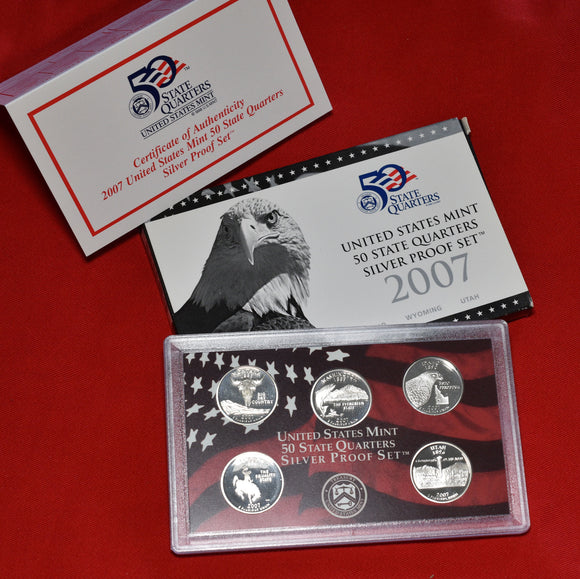 2007 US Silver Proof 50 State 5 Quarters