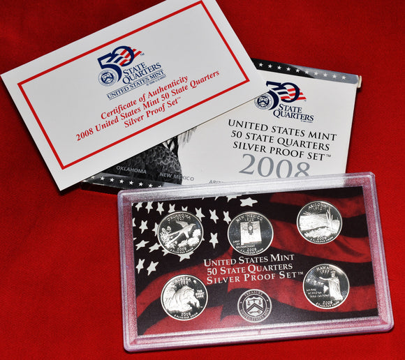 2008 Silver 50 State Quarters Proof Set 5 Coins