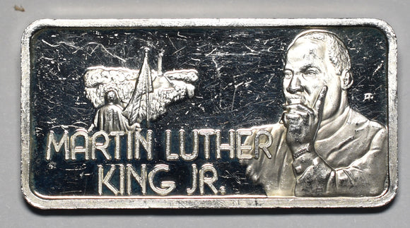 Martin Luther King Jr Greatest Americans 1 Ounce .999 Fine Silver Art Ingot Bar