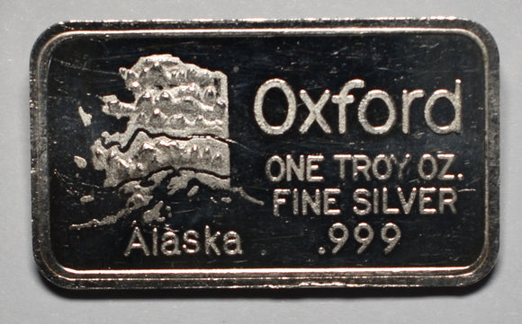 Oxford Assaying Refining Alaska 1 Ounce .999 Fine Silver Art Ingot Bar