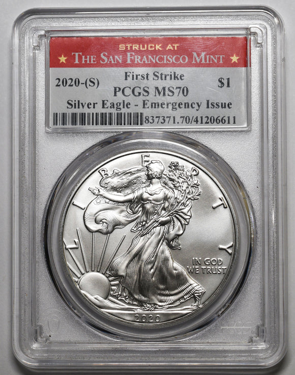 2020 S American Silver Eagle MS70 First Strike PCGS Emergency Issue Coin