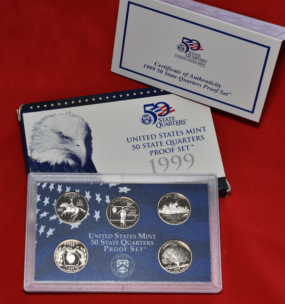 1999 50 State Quarters Proof 5 Coin Set