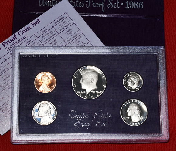 1986 US Proof 5 Coin Set