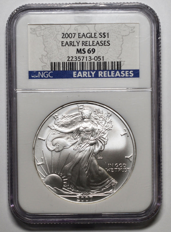 2007 American Silver Eagle MS69 Early Releases NGC Coin