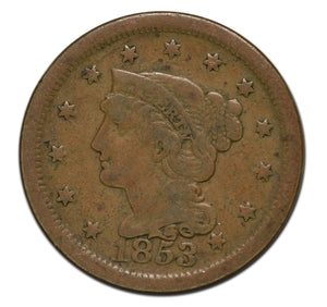 1853 Large 1¢ Cent Coin