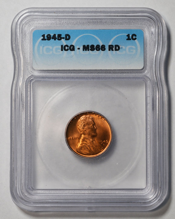 1945D Lincoln Cent MS66RD ICG Red Coin