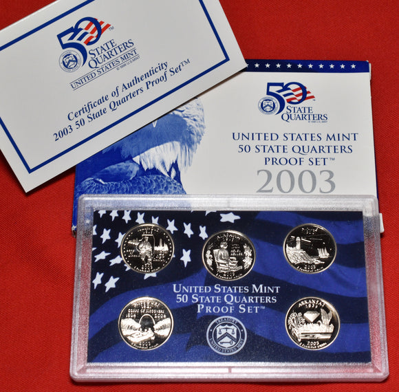 2003 U.S. 50 State Quarters Proof Set - 5 Coins