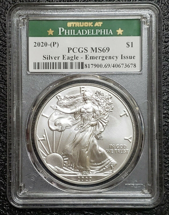 2020 (P) 1oz Silver American Eagle MS69 PCGS Emergency Issue Coin Sku C148