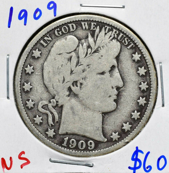 1909 Silver Barber Half Dollar 50¢ Coin Lot# A 607