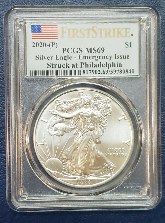 2020 (P) 1 Silver Eagle PCGS MS 69 FS Emergency Issue White Spots Coin Sku C141