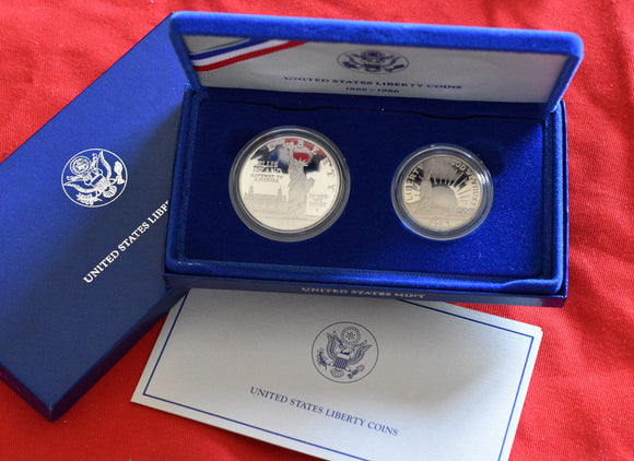 1986 S LIBERTY Ellis Island 2 Coin Proof Set Silver Dollar & Half Dollar