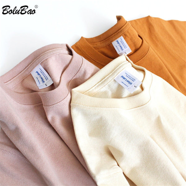 BOLUBAO Men's Fashion Solid Color T Shirt Tops New Men Casual Simple T Shirt Male 100% Cotton Retro T-Shirts Brand Clothing