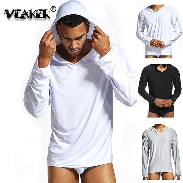 Ice Silk T Shirts Men T Shirt Long Sleeve Slim Fit Men's Fitness Quick Dry Stretch T-shirt  Hooded TShirt Basic Tees Summer Tops