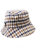 Aquascutum of London Cappello Pescatore Club Check Reversibile in Beige