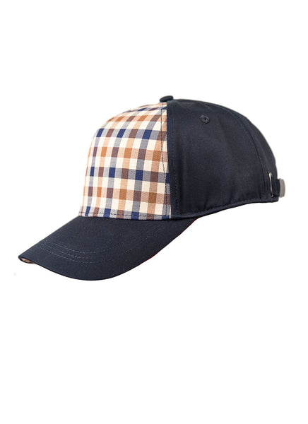 Aquascutum of London Cappello Visiera Club Check Blu