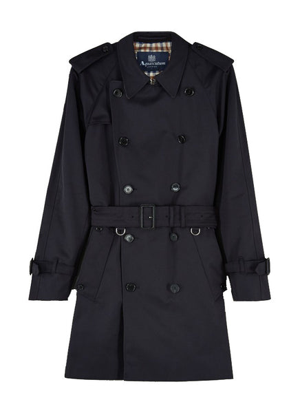 Aquascutum of London Navy Corby Blue Double-Breasted Raincoat