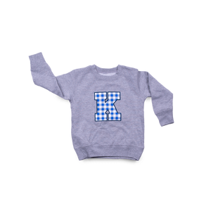 Plaid K Toddler Crew Sport Grey