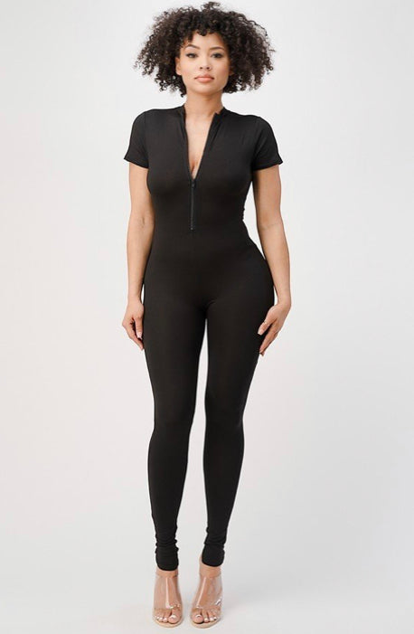 High Neck Half Zip Short Sleeve Body-Con Jumpsuit