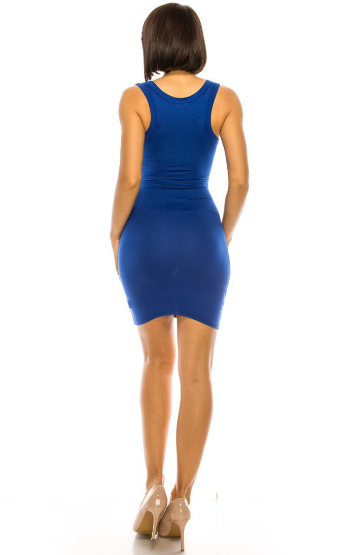 Bodycon Short Dress with Split Scoop Neckline