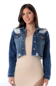 DISTRESS FRONT BUTTON CROP DENIM JACKET